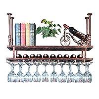 壁掛けワインや酒のボトル収納ホルダー| ステムウェアラック ワインボトルホルダー脚付きグラスハンガーシェルフ| ワイン収納ラック ホーム&キッチンデコール
