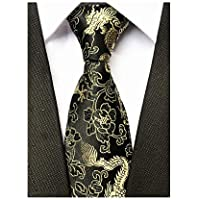 Men's Novelty Silk Tie Dragon Peony Embroidery Woven Wedding Formal Necktie Gift