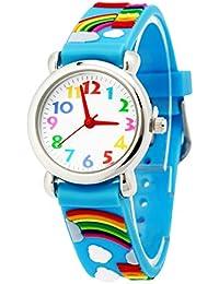 Panegy子供キッズ腕時計数字アナログカラフルな3dレインボーゴムブルー