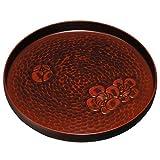 紀州塗り 9.5寸 丸盆 鎌倉 梅彫
