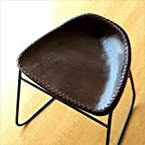 本革スツール デザイン レザースツール 本革椅子 スリム 軽量 アイアンと本革のスツールB [kan7128]