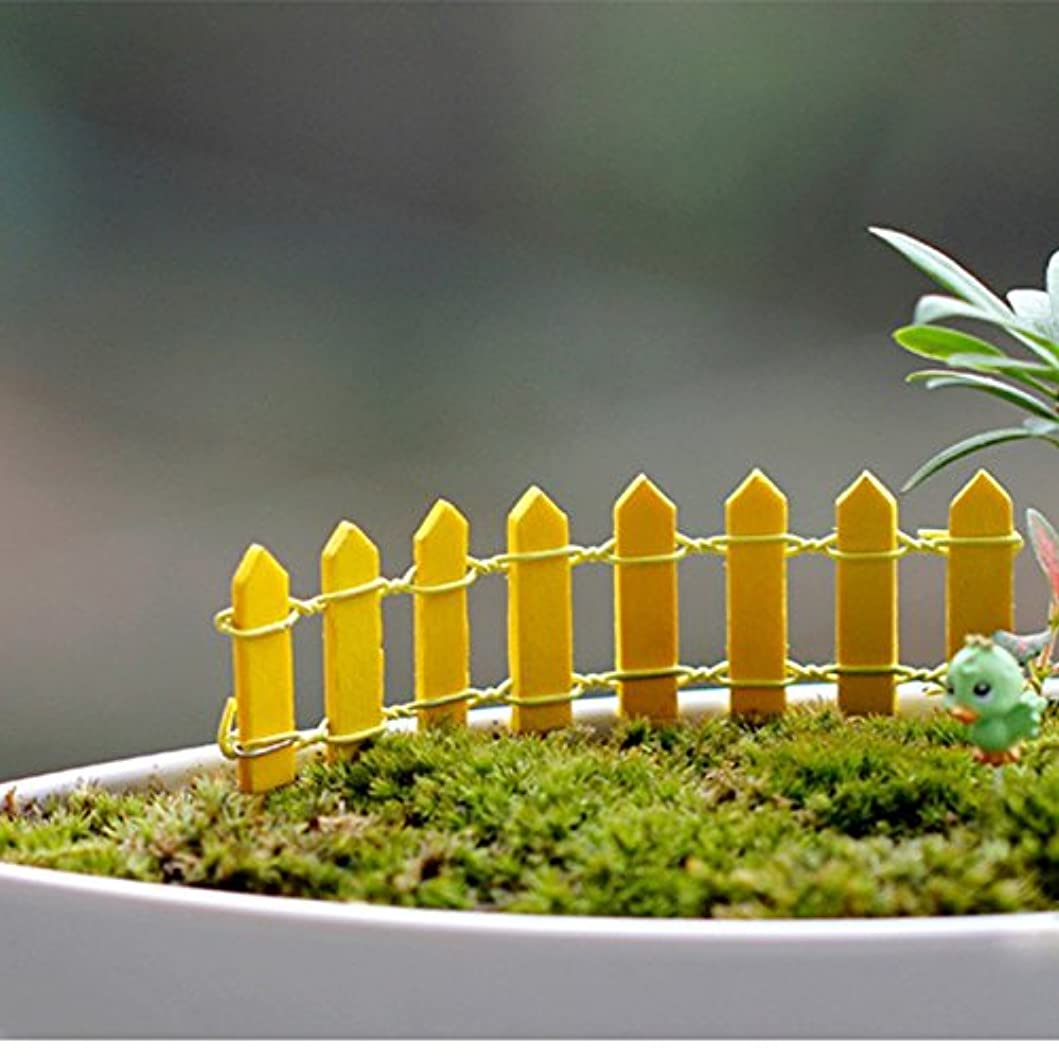 メトロポリタン国民投票違反Jicorzo - 20個DIY木製の小さなフェンスモステラリウム植木鉢工芸ミニおもちゃフェアリーガーデンミニチュア[イエロー]
