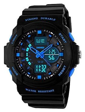 キッズ LEDライト搭載 デジタルウォッチ 男の子・女の子用 多機能 防水仕様 クォーツ時計 ブルー
