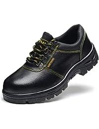 セーフティーシューズ メンズ 安全靴 作業靴 工事 厨房 キッチン 先鋼製芯入り 耐油性 撥水加工 防汚 防滑 編み上げ ローカット クッション性 ハイグリップ 黒 23.0-28.0cm