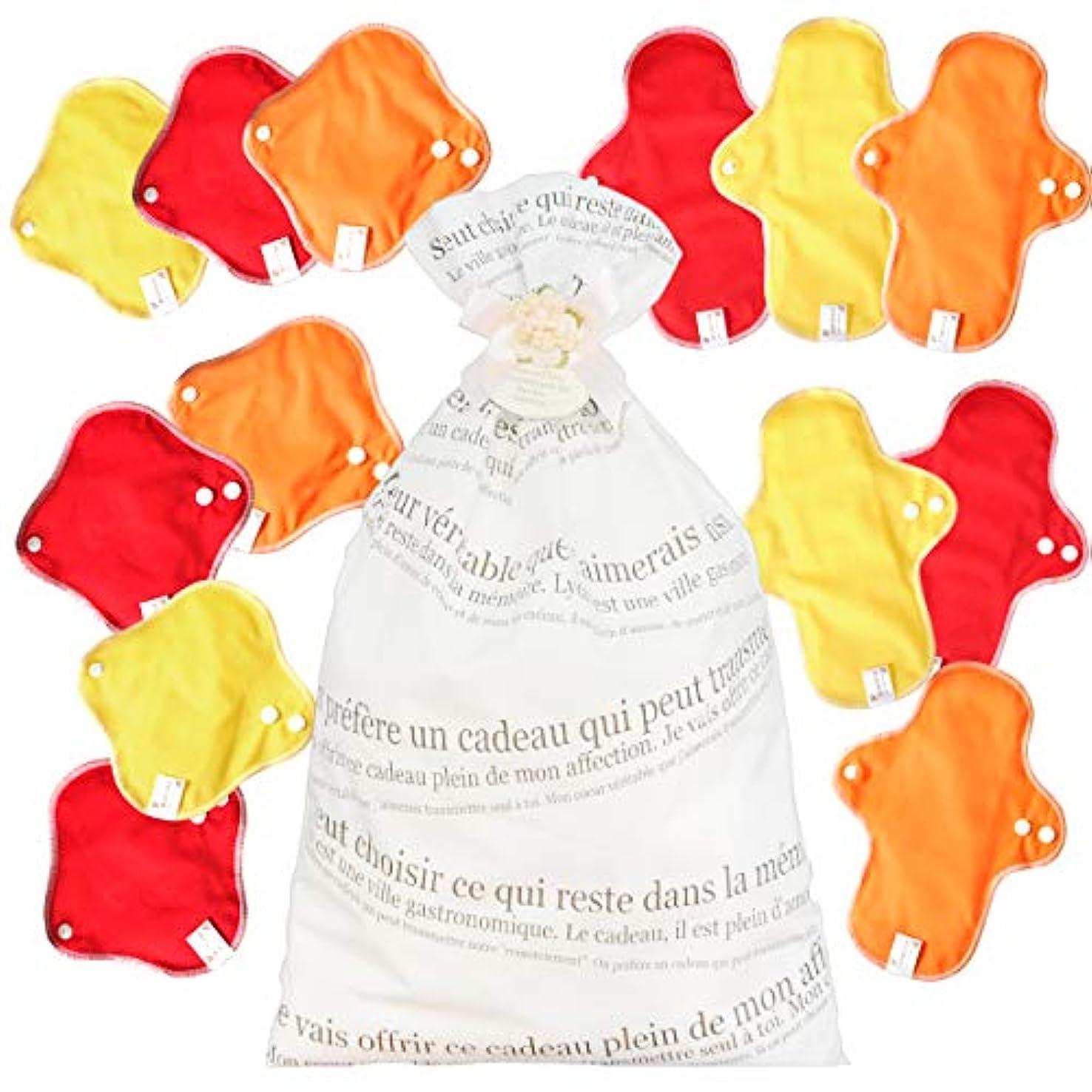 目的兄教育学布ナプキン 15枚入り 【色が選べる 布ナプキン 福袋 1万円 】 < 防水布 付き&幅広設計で漏れにくい>(マカロンカラー)