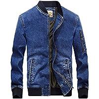 Chouyatou Men's Band Collar Full Zip Distressed Denim Letterman Bomber Jacket