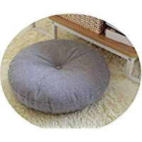リネン布団クッションは、ラウンドファブリック床瞑想和風バルコニー窓の畳のクッション,ライトグレー取り外し可能かつ洗える,直径60cm、厚さ15cm