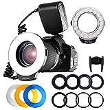 リングフラッシュ FOSITAN LED 18球 マクロリングライト Canon、Nikonに対応ストロボ LCDディスプレイ 4種類ディフューザー 8種類交換リング付き