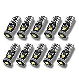 SEALIGHT T10 LED ホワイト 高輝度 キャンセラー内蔵 ポジションランプ ナンバー灯 ルームランプ 3030LEDチップ搭載 12V 2W 6000K 10個入