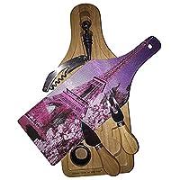 パリエッフェル塔ピンクワイン&チーズセットガラスカッティングボード
