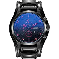 CURREN Mens Leather Date Quartz Analog Army Military Sport Casual Wrist Watch CURREN 8225 (Black Band with Red Hand)