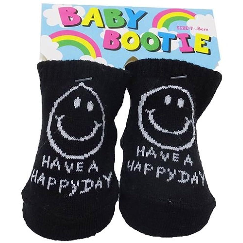 好ましい遠近法ダウンタウンHAVE A HAPPY DAY[赤ちゃん靴下]ベビーブーティーソックス/ブラック