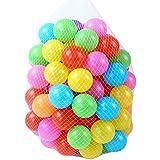 UniqueMall カラーボール おもちゃボール 7色 約100個 直径5.5cm やわらかポリエチレン製 収納ネットセット(プール/ボールハウス用 (7色)