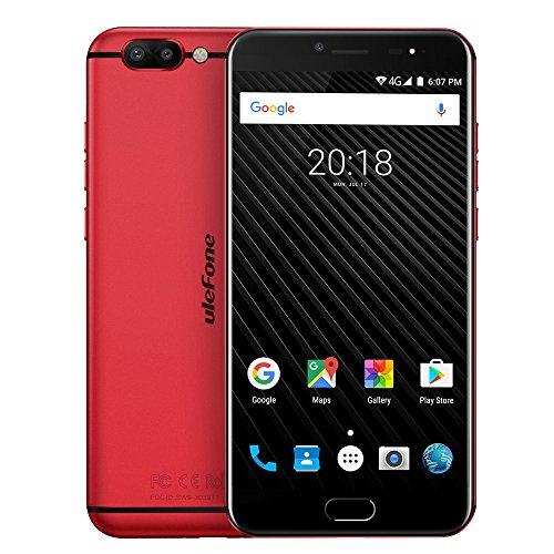 Ulefone T1 SIMフリースマートフォン Android 7.0 Helio P25 6GB+64GB 2.6GHz 5.5インチ 1920 x 1080 FHDスクリーン 8MP+16MP(赤)