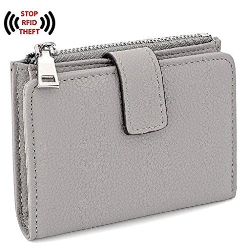 [ユーティーオ]UTO レディース RFID ブロッキング 二つ折り 財布 通勤 ビジネス カードケース グレー
