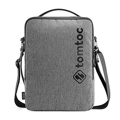 tomtoc 360°保護 ショルダーバッグ 13インチ MacBook Air | 13インチ MacBook Pro | 13.5 Surface Book | 13.5 Surface Laptop | Dell XPS 13 対応、 メッセンジャーバッグ、 ショルダーストラップ、 持ち手、 アクセサリー用ポケット付き 、 耐衝撃 撥水加工、グレー