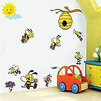 Mingld かわいい漫画蜂3Dウォールステッカー子供のための部屋の装飾ラブリーハニービーヴィニーウォールアートデカール壁画Diy保育園家の装飾67×26センチ