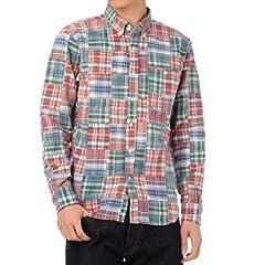 Patchwork Madras Buttondown Shirt 387-84021: Red