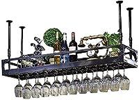 Weiyue ワインラック- 錬鉄レトロスタイルのバーレストランハンギングドリンクホルダーバーの装飾ワインラック高さ調節可能なワイングラスホルダーウォールマウント (Color : Black, Size : 60*35cm)