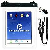 ProtectAct 防水 ケース カバー 日本製 iPad pro Air 用 7 ? 10 インチ タブレット PC 対応 ネック ストラップ お風呂 透明 ( ブラック )