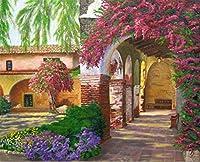 数字でDiy油絵、数字キットでペイント - 庭ロマンチックな16 * 20インチリネンキャンバス - 大人のためのデジタル油絵壁アートアートワーク上級子供シニアジュニア