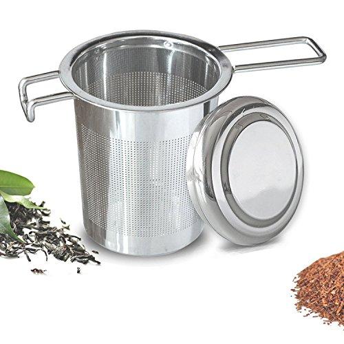 Fengbao 茶こし 取っ手と蓋付き 茶漉し ステンレスメッシュ 茶葉濾過 茶溜めカップ、ポット用
