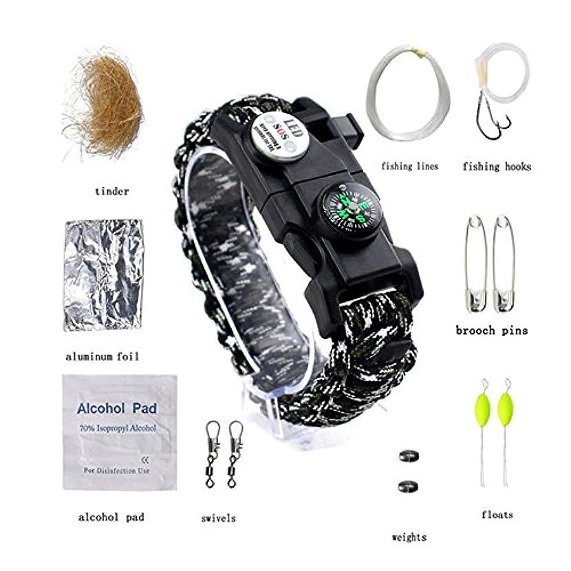 スモッグ歌手チケットTeFuAnAn サバイバルブレスレット 多機能 ブレスレット LEDライト ファイヤースターター スクレーパー アウトドア 野外生存 登山 安全対策 男女兼用 5色可選