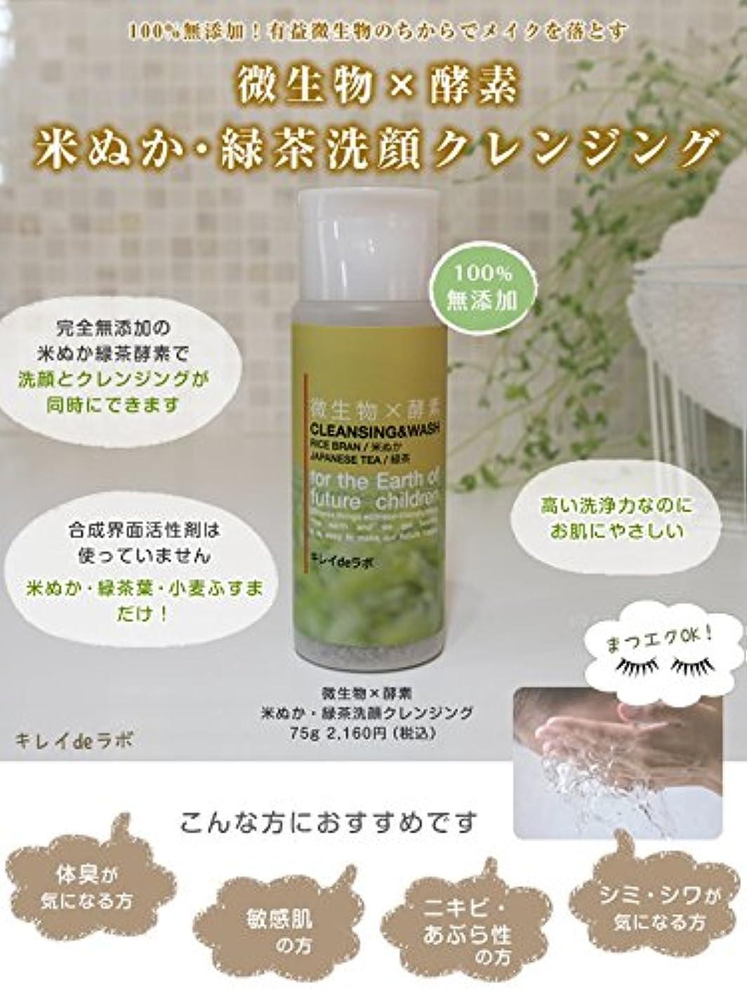 補助居間ボリューム微生物×酵素 米ぬか緑茶洗顔クレンジング100%無添加 マツエクOK … (本体 75g) みんなでみらいを 米ぬか使用
