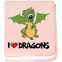 CafePress – I Love Dragons Baby Blanket – スーパーソフトベビー毛布、新生児おくるみ ピンク 554086664-0-173-0