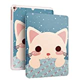 iPad Airケース カートゥーン模様 猫 PUレザーケース 超薄型 軽量スタンド仕様 マグ...