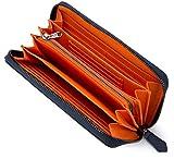 [レガーレ] カーボン レザー カード18枚収納 ガバッと開いて使いやすい 長財布 10色(オリジナル化粧箱入り) (カーボンブルー×オレンジ)
