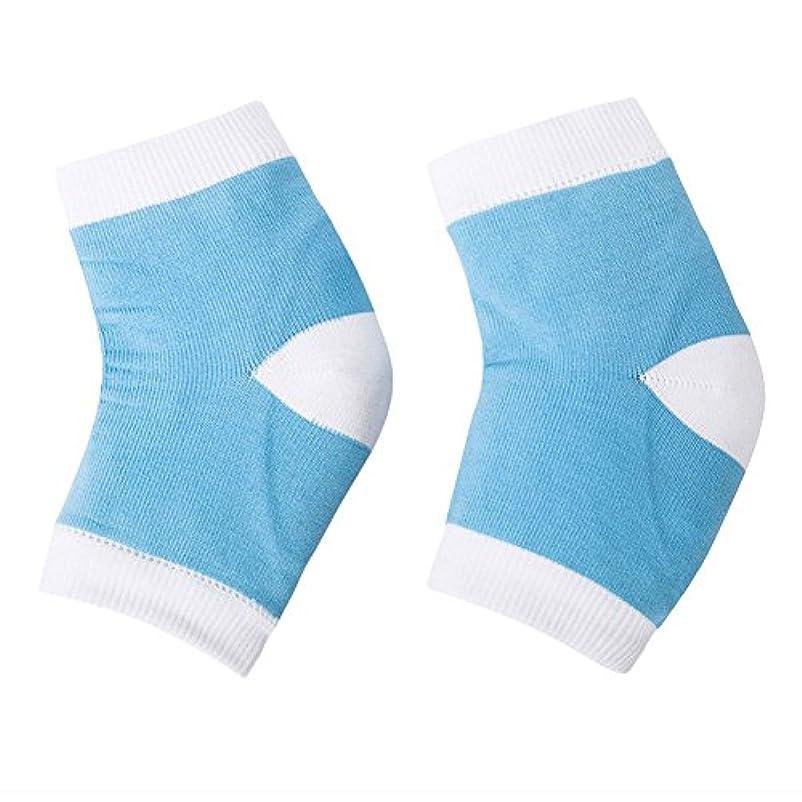 機械的見つける低いQIAONAI レディース用 メンズ用 踵用カバー かかと 靴下 かかと ケア つるつる すべすべ 靴下 ソックス 角質ケア 保湿 角質除去 足ケア かかと 靴下 足首用サポーター  フリーサイズ (ブルー)