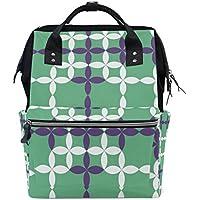 ママバッグ マザーズバッグ リュックサック ハンドバッグ 旅行用 幾何学模様 緑 ファション