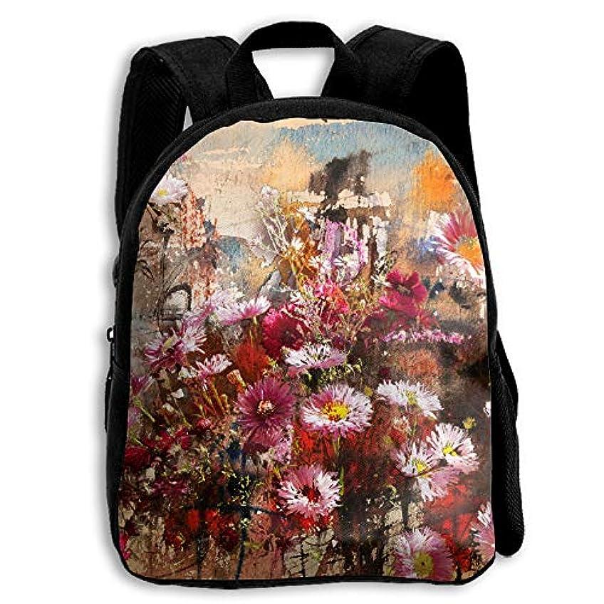 スロベニアスリット項目キッズ リュックサック バックパック キッズバッグ 子供用のバッグ キッズリュック 学生 秋の花 芸術 水彩画 アウトドア 通学 ハイキング 遠足