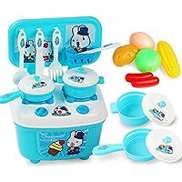 GZQ ままごと遊び キッチンセット おもちゃ 台所 食器 調理器具付 キッズ 子供用 女の子 誕生日 クリスマス プレゼント (ブルー)