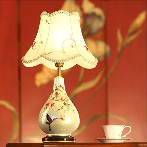 現代中国の陶器のテーブルランプベッドルームファブリックベッド...