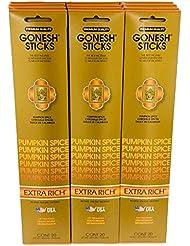 Gonesh Incense – 12 Pumpkin Spiceパック( 240 Sticks ) Incense Sticks Extra Richコレクション