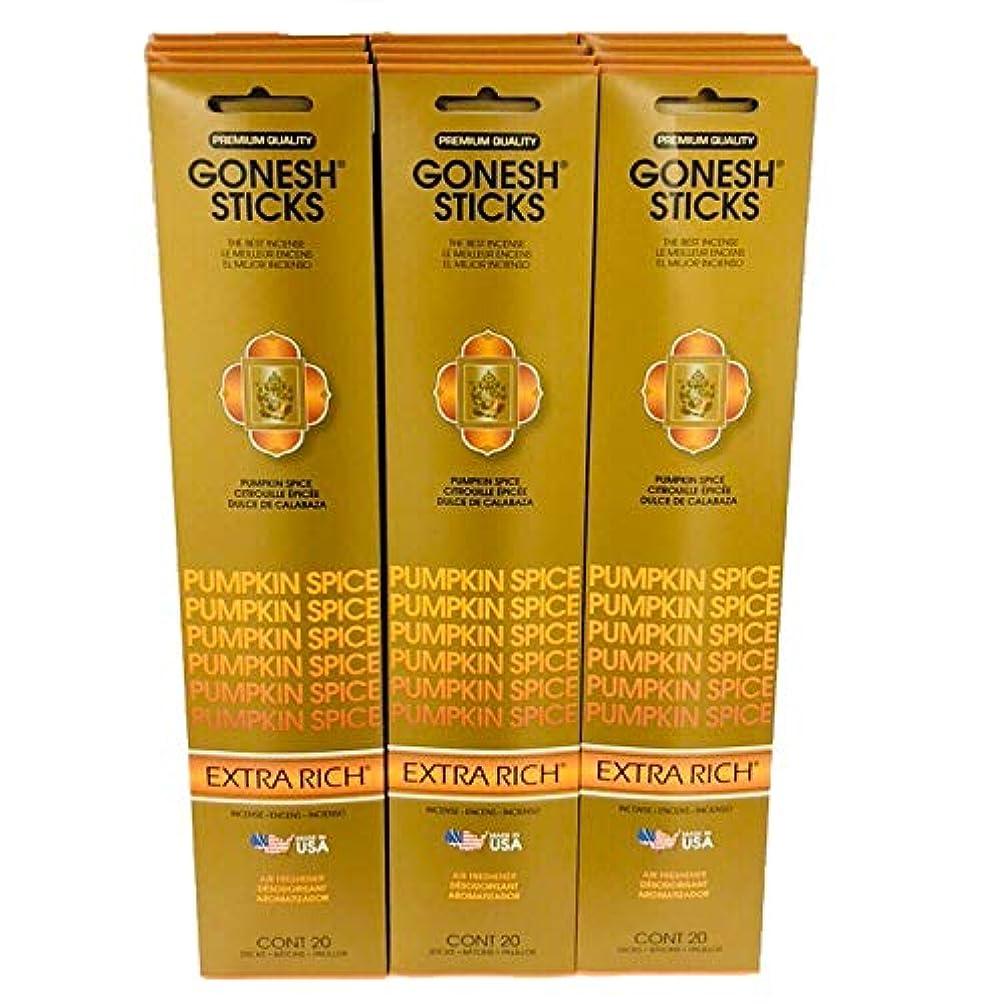 胴体求める宗教的なGonesh Incense – 12 Pumpkin Spiceパック( 240 Sticks ) Incense Sticks Extra Richコレクション