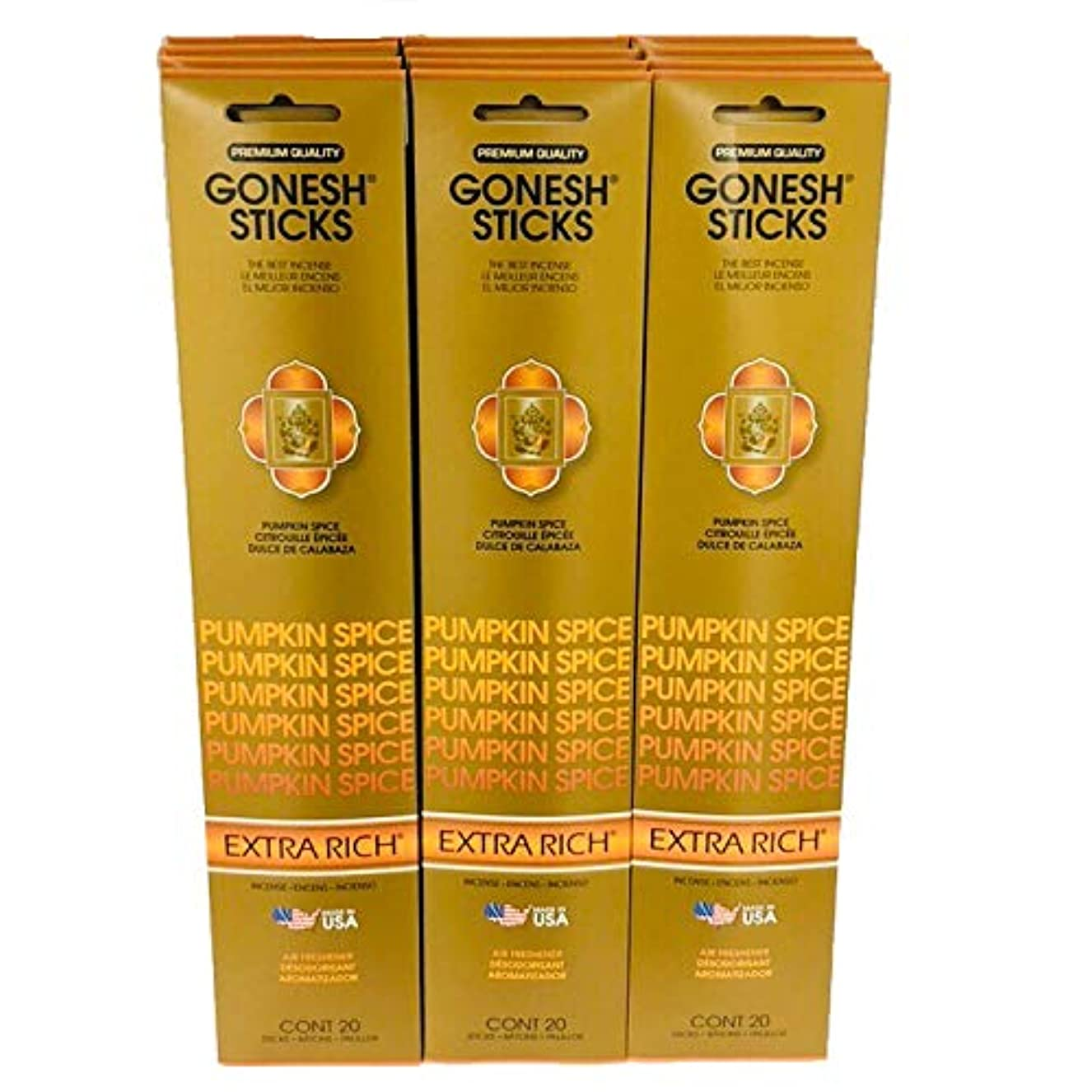 あえて仲人文化Gonesh Incense – 12 Pumpkin Spiceパック( 240 Sticks ) Incense Sticks Extra Richコレクション
