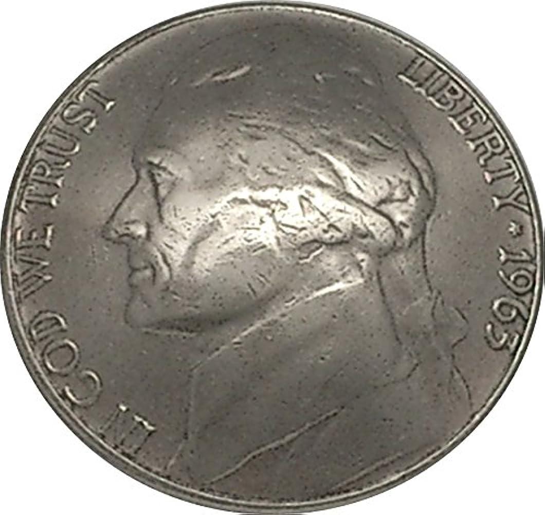 平和うなり声愛コンチョ 5セント 白銅貨 ジェファーソン 1963年 (昭和38年) ネジ式 1個