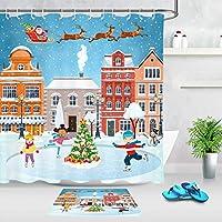 HiYash スケートリンクサンタクロースファッションシャワーカーテンセット12フック付き3D印刷防水コーティングポリエステル生地バスルームシャワーカーテン71x71inchバスルームカーペット60x40cm