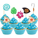 (30 Pcs)Moana Inspired Cupcake Toppers Moana Cupcake Toppers Birthday Party Decoration Boat Sail Swirls Hooks Hawaiian Flower Leaves for Tropical Luau Summer Party Baby Shower Wedding