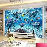 Xueshao カスタム3D写真の壁紙水中世界イルカ魚子供ルーム寝室リビングルームテレビ装飾壁壁画壁紙-150X120Cm