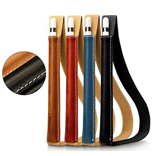 Jisoncase Apple Pencil ケース アップル ペンシル カバー ホルダー 本革 レザー ゴムバンド付き 通用カバー iPad Pro 12.9 用 iPad Pro 9.7 用 シンプル ハンドメイド (ブラウン JS-APL-01A20)