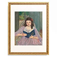 メアリー・カサット Mary Stevenson Cassatt 「Francois in a round-backed chair, reading. About 1909」 額装アート作品