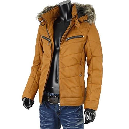 レザージャケット メンズ 中綿 ジャケット 冬アウター 冬服 PUレザー 合皮 ファー フード G250909-06 キャメル LL