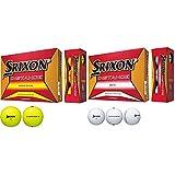 DUNLOP(ダンロップ) ゴルフボール SRIXON DISTANCE 2018年モデル 1ダース(12個入り) パッションイエロー & ゴルフボール SRIXON DISTANCE 2018年モデル 1ダース(12個入り) ホワイト【セット買い】