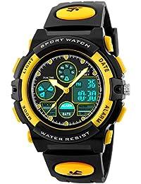 男の子の腕時計多機能デュアルタイムデジタル時計のアラームスポーツ防水キッズの腕時計