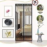 BMY メッシュドアカーテン磁気魔法の昆虫の蚊スクリーンネット、ガラスドアをスライドさせるための磁気スクリーンドア、ハンズフリー、フルフレーム、ブラック、100x220cm(39x87inch)