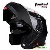 バイクヘルメット システムヘルメット フルフェイス ジェット ダブルシールド 今年バージョンアップT270[単色・黒(艶消し)/XL]